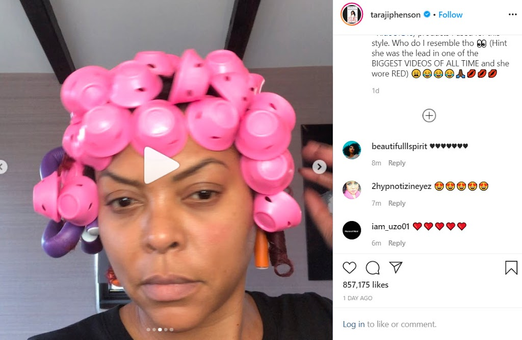 Taraji P Henson at home natural hair curlers install is all of us